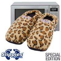 Microwave Slippies Mikrowellen-Wärmepantoffeln Deluxe mit Leopardenmuster