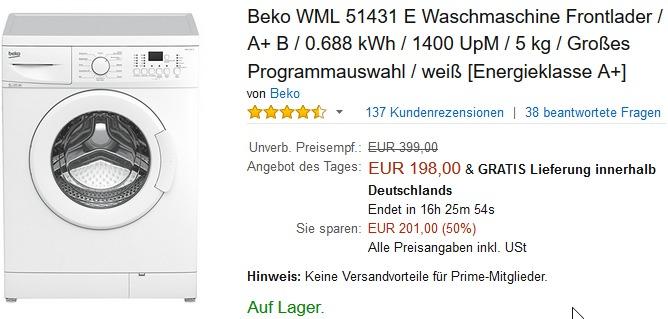 Beko WML 51431 E Waschmaschine für 198 € statt 269 €  