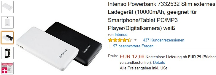 testsieger powerbank intenso slim s10000 ab 12 66. Black Bedroom Furniture Sets. Home Design Ideas